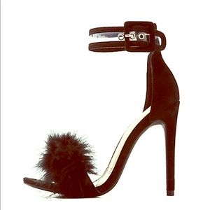 Shoes - Feather trim heels
